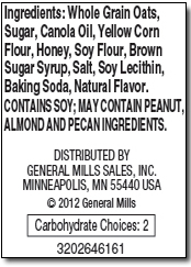 Nature Valley Oats 'n Honey ingredients