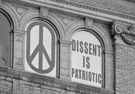 "'Dissent is Patriotic"" sign overlooking the World Trade Center site."