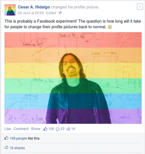 Cesar Hidalgo jokes about Facebook's Celebrate Pride feature.
