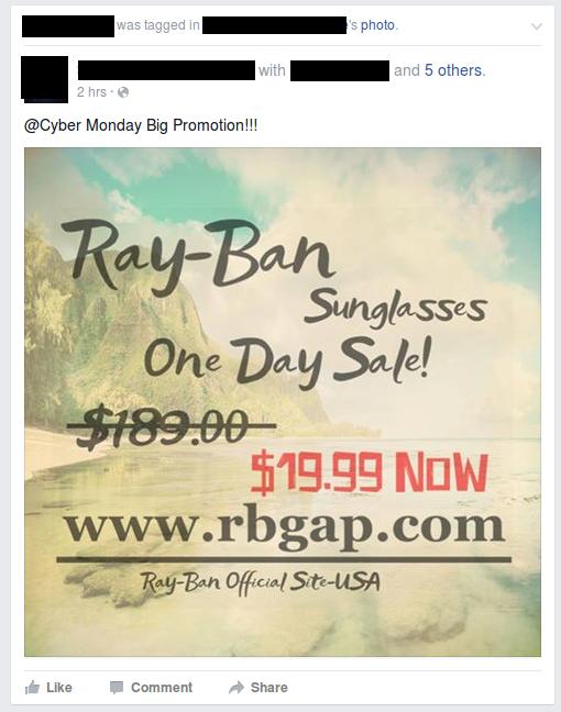 ray ban sunglasses one day sale hub5  facebook photo spam; rayban