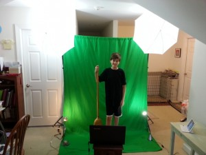 Travis's green screen setup. Lights are helpful but not necessary.