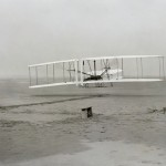 The Wright Brothers take to the air for the first time, Dec 17, 1903.