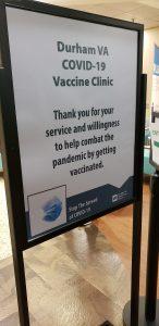 Durham VA COVID Clinic sign